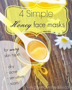 "4 Simple Honey Face Masks - I tried the ""Honey Face Mask for Acne-Prone Skin"" today and am very pleased with the results! I let it sit for 30 minutes and can already see improvement in my complexion. Might try the mask for dry skin next."