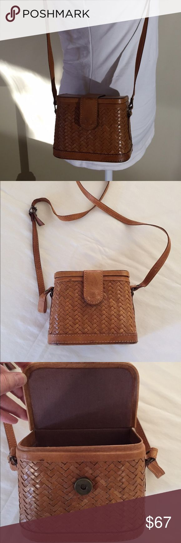 """REALLY CUTE Brown Leather Crossbody Bag This is a very interesting find!!  I purchased an antique fishing tackle box and cleaned it up to wear as a purse!  It is 5""""H x 6""""W x 3.5""""D and has an adjustable 21"""" drop shoulder strap.  Open the magnetic closure lid and you'll find a cloth interior with one slip pocket.  MAKE ME AN OFFER! Bags"""