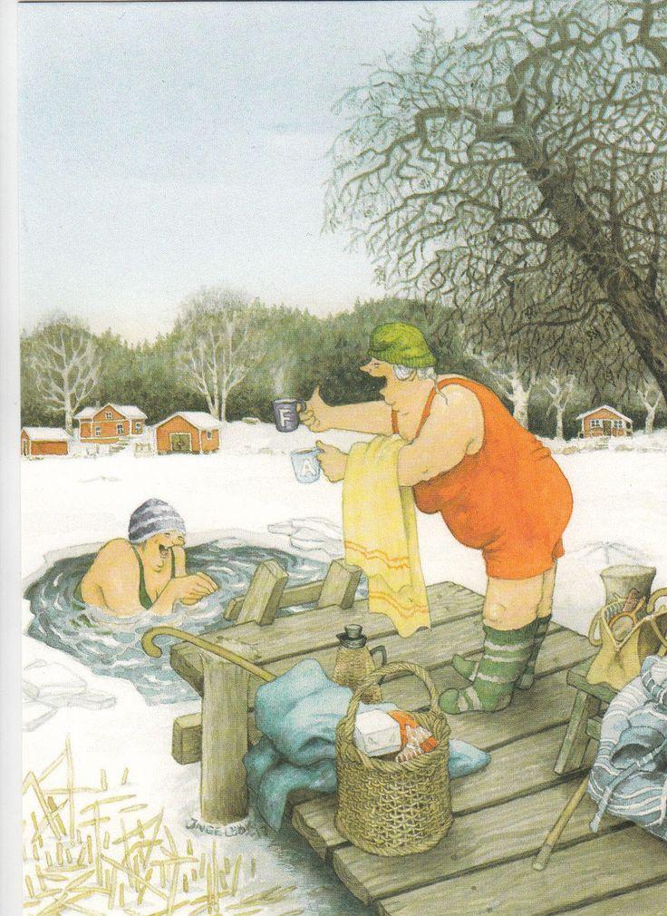 New single postcard by Inge Löök, old ladies, winter swimming | eBay