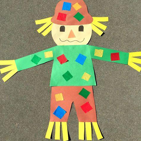 giant scarecrow craft project for preschool and kindergarten