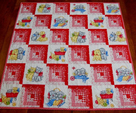Puppy Kitty Baby Quilt Log Cabin Vintage by ForgetMeNotQuilteds
