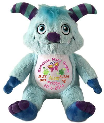 These beautiful friendly Remembear Blue Monsters make a wonderful personalised gifts for a boy in your life. Your Blue Monster Remembears are special types of personalised teddy bear animals that can be embroidered with the details of baby's birth.