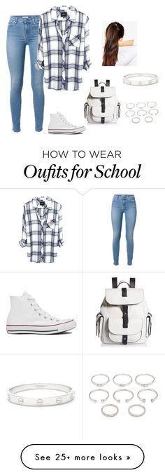 hemdje, jeansbroek, all-stars, rugzak, ring, armbandje, hoge staart
