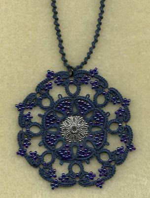 Tatted pendent. More Beautiful work on this site.