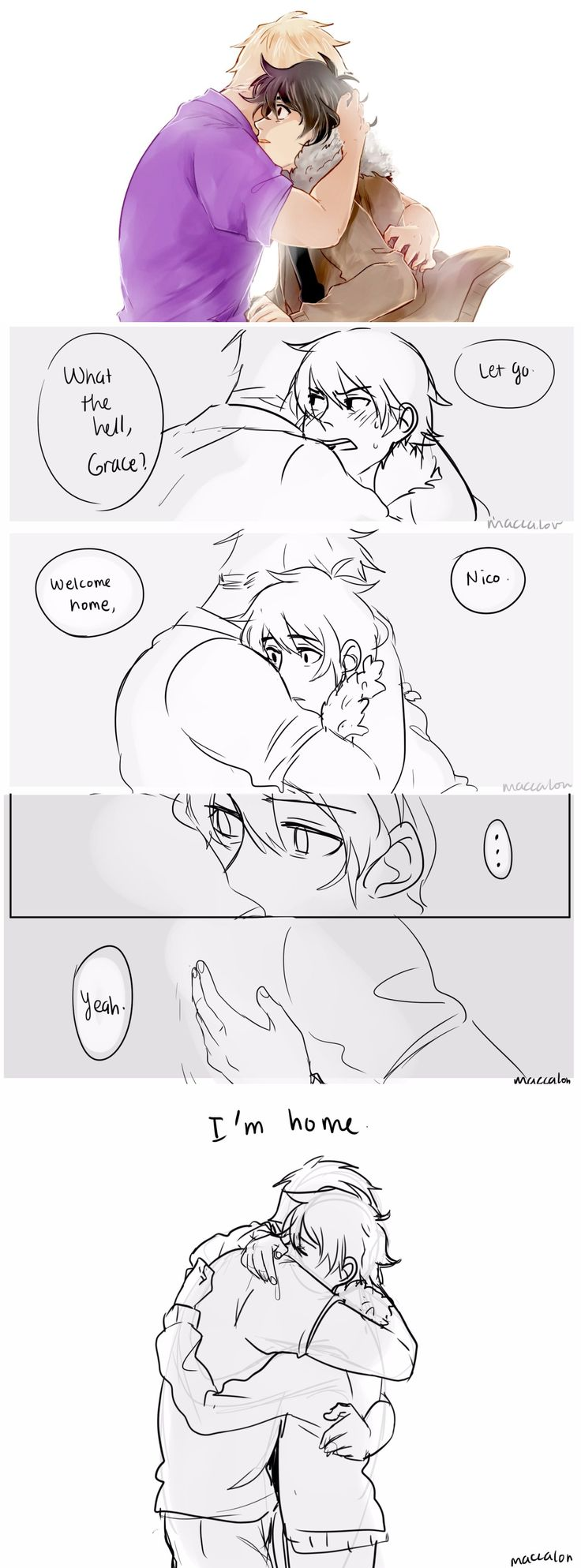 "maccalon: ""I'm staying at Camp Half-Blood.""  Headcanon where Jason just hugged Nico without thinking any longer. And Nico just accepted the hug and drown in it.  finally, a full color proper art of Jasico holy gods bless my soul  bonus short comic after this cut coughs it's really messy tho"
