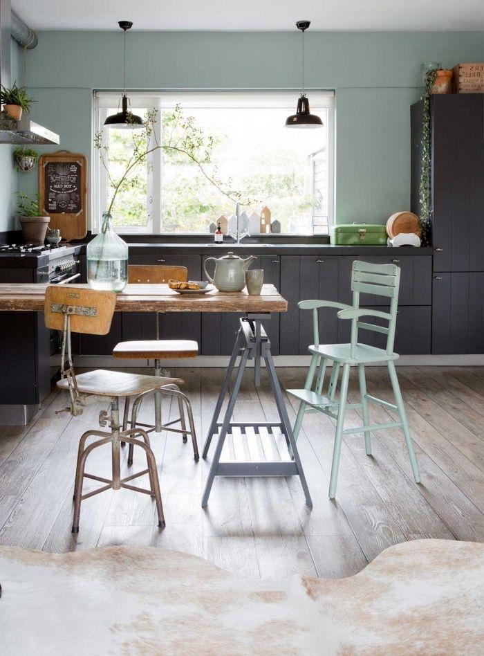 1001 Idees Comment Integrer La Peinture Vert De Gris Dans Son Interieur Peinture Vert De Gris Cuisine Verte Deco Vert D Eau