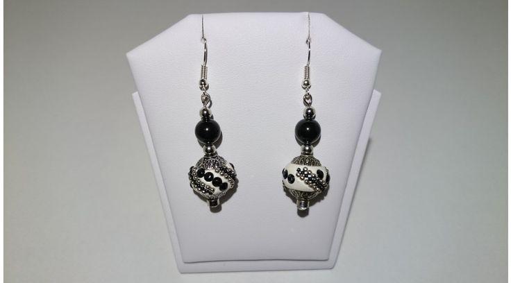 Fekete Indonéz gyöngy lógós fülbevaló - Fülbevalók / Black indonesian pearl earring - FMGyöngy - Utazás a gyöngyök világába