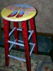 Wizard of Oz Stool- art project: stools depicting each character? (auction off at musical?)