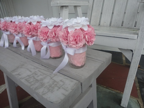 Paper Peony Centerpieces Paper Carnation Wedding Shower Centerpiece...Real carnations and gerbera daisy instead...but cute!