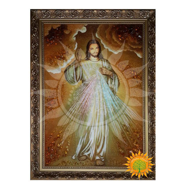 Икона с янтаря Образ Иисус Милосердный имеет первостепенную важность в католичестве.Обратите внимание как качественно она выложена янтарем.Закажите сейчас