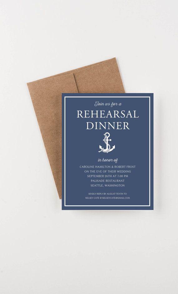 Nautical Rehearsal Dinner Invitation, Bridal Shower or Engagement Dinner Invitation