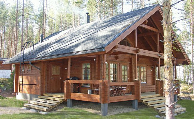 Log Cabin Plans And Prices | Gross floor area: 60 m2, loft 10 m2, veranda + balcony 24 m2