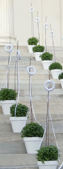 Church decoration-potted herbs for front steps, can reuse-lemon balm or mint.