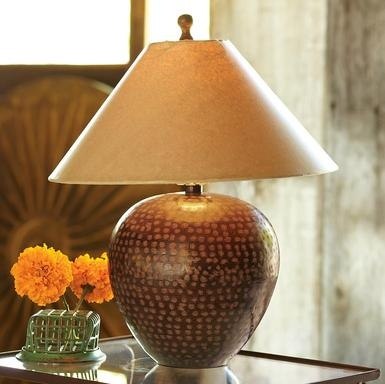 31 best lighting images on pinterest buffet lamps table lamps detailed with a handsome hand hammered hatchmark motif its topped with a warm kraft paper shade copper lamps mozeypictures Images