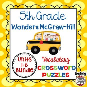 Looking for a fun way for your students to practice their vocabulary words? These crossword puzzles are based on the 5th grade Wonders McGraw-Hill reading series. This is a fun handout that is great for classwork, homework, and/or to add to student's interactive reading notebooks so they can master