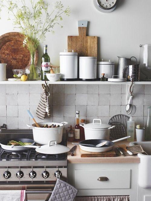 Open shelving in kitchen | Kitchen utensils | Le Creuset pots