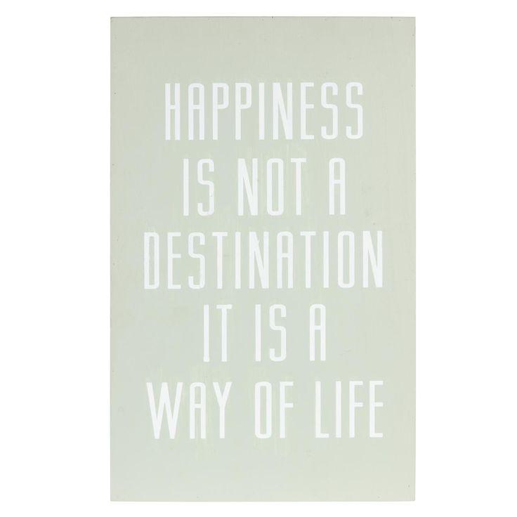 Groen wandbord Happiness met leuke inspirerende tekst. Afmeting: 25 x 40 cm. #kwantum_woonahaves_wandbord #kwantum #kwantum_nederland #woonahaves #daarwoonjebetervan