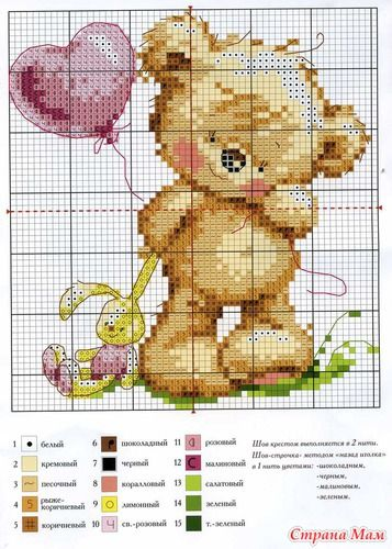 Cute Bear Hama Perler Bead Pattern or Cross Stitch Chart