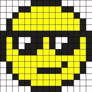 Cool Face Perler Bead Pattern / Bead Sprite