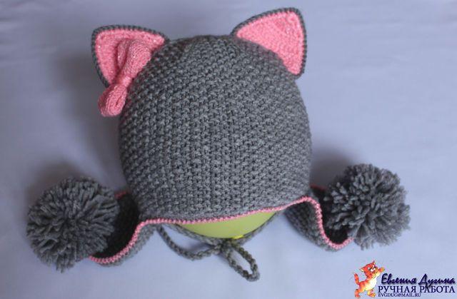Шапка-кошка с ушками для девочки спицами и крючком. Обсуждение на LiveInternet…