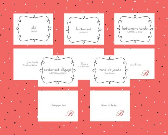 Flashcards For Beginning Ballerinas Etsy Flashcards Printable