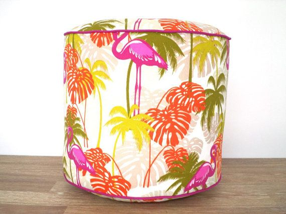 "Tropical outdoor pouf 18"" diameter, round pouf ottoman beach house decor, palm leaf floor pouf, outdoor bean bag chair flamingo decor"