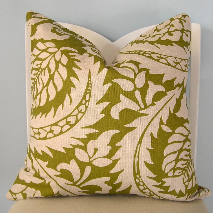Green Foliage Floral Pillow Cover 18 X 18. $26.00, Via Etsy.