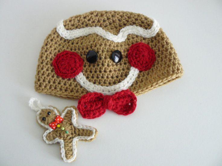 L'omino pan di zenzero - natale berretta, cappello, cuffia più pupazzo fatto all'uncinetto per neonati., by Bicolino ʚı̤ɞ , 22,00 € su misshobby.com