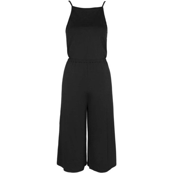 TOPSHOP PETITE High Neck Culotte Jumpsuit (£15) ❤ liked on Polyvore featuring jumpsuits, playsuit, black, petite, black jump suit, high neck jumpsuit, topshop jumpsuit, jump suit and wide leg jumpsuit