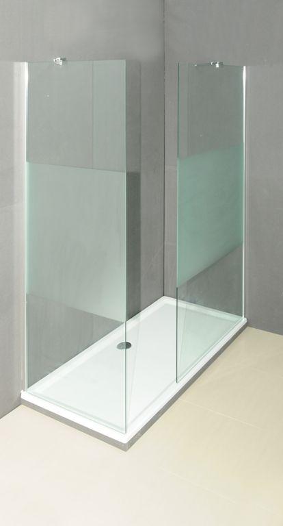 -  afm. 870 x 2.000 mm -  glas dikte 8 mm -  exclusief muurprofiel en toebehoren -  opties: beugels, bevestigingsprofielen en douchebak -  ook beschikbaar in klaar glas en/of de breedtes 970, 1.070, 1.170, 1.370 en 1.570 mm