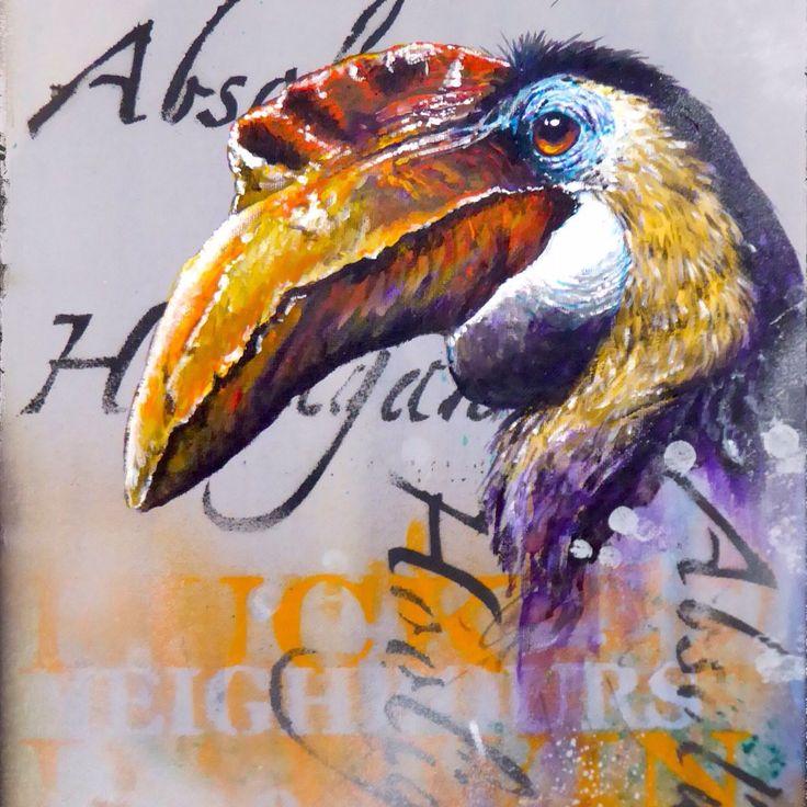 Absolute Hooligan Hornbill - Montana Gold and Liquitex spray paint exotic bird graffiti art by Tim Niall-Harris