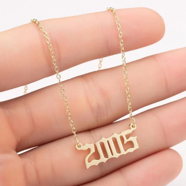 Women Personalized Necklace Special Date Year Number Necklace Girl1994 1995 1996 1997 1998 1999 From Chains Jewelry Diamond Bar Necklace Dainty Gold Necklace