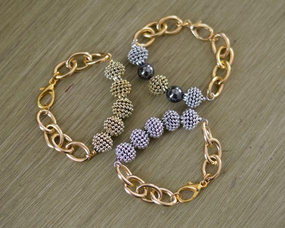Chunky Guld Kæde armbånd med Chunky perler af sweetclover05