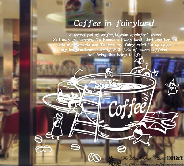 Coffee In Fairyland Restaurant Wall Stickers Window Sign Decal Art Quote Mural