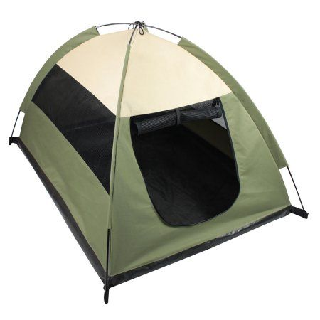 Iconic Pet Cozy Camp Pet Tent House, Sage Green with Beige, Multicolor