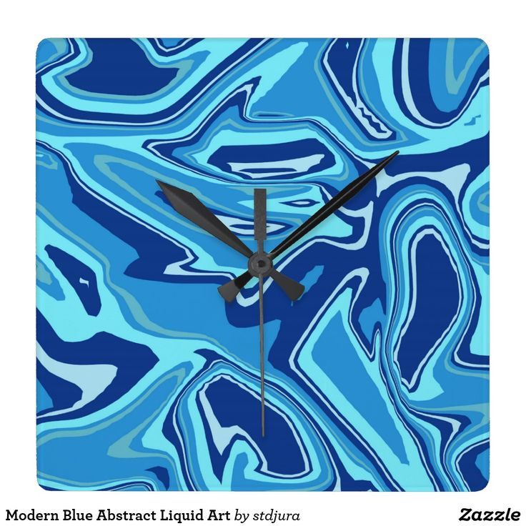 Modern Blue Abstract Liquid Art Square Wall Clock   #modern #blue #abstract #liquid #art #square #wallclock #time #zazzle