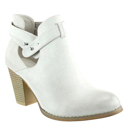 nice Angkorly - Zapatillas de Moda Botines chelsea boots abierto stile vendimia mujer trenzado tanga tachonado Talón Tacón ancho alto 8 CM - Beige
