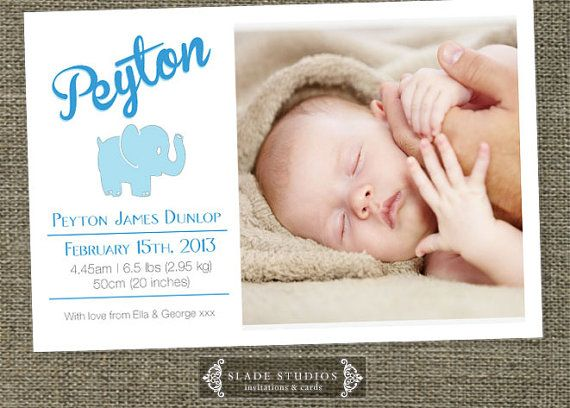 Baby Elephant birth announcement photo cards for by SladeStudios, $15.00