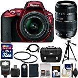 #4: Nikon D5500 Wi-Fi Digital SLR Camera & 18-55mm G VR DX II (Red) with 70-300mm Lens  32GB Card  Case  Battery  Flash  Tripod  Filters  Kit