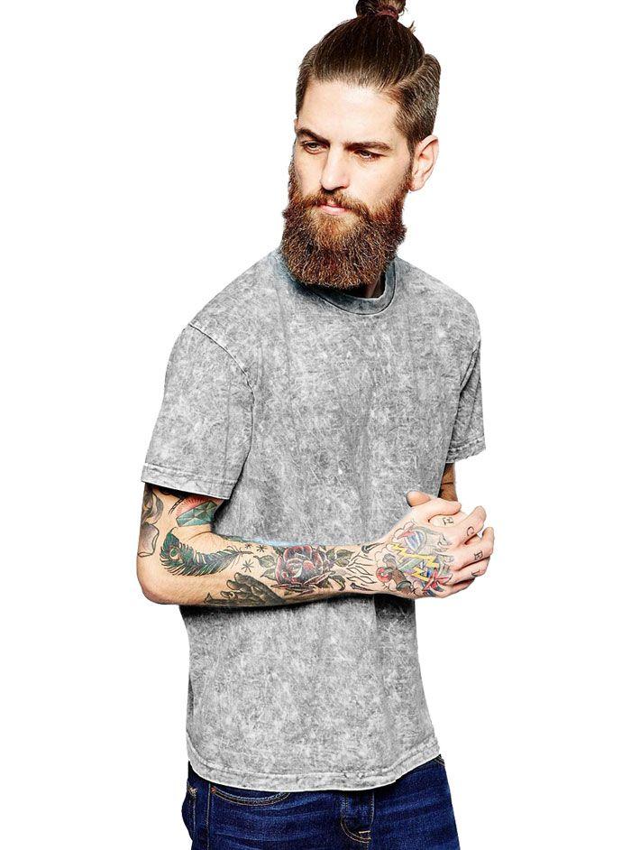 Yıkamalı Gri Erkek Tişört MC09280914193