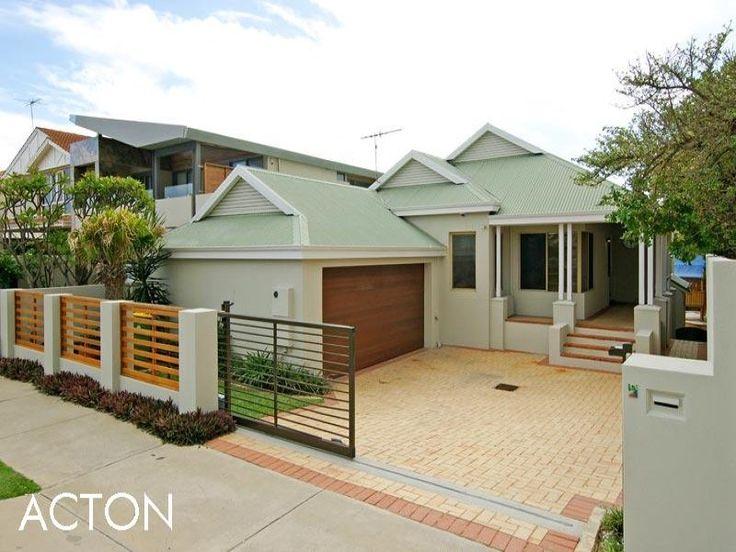 Brick modern house exterior with porch landscaped garden for Exterior house facade ideas