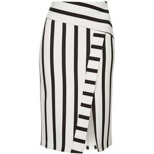 Topshop Stripe Detailed Midi Skirt