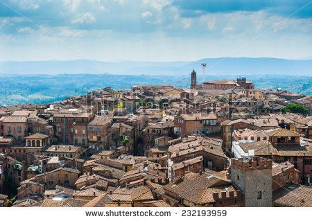 Siena. Image of ancient Italy city, view from the top. Beautiful house and chapel.