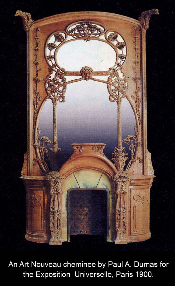 Art Nouveau antique fireplace mantel