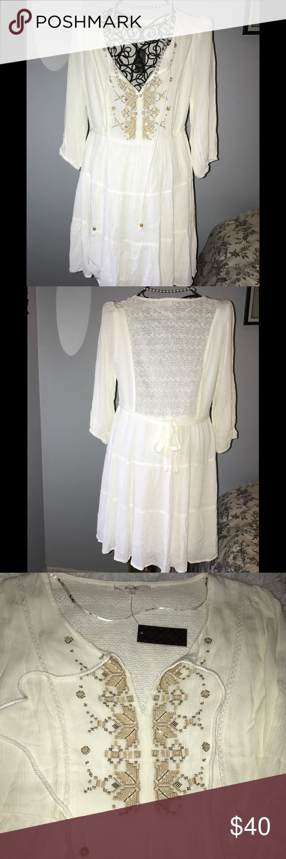 New Miss Me sequin embellished Boho Festival dress Super cute, Brand New Miss Me gauze Boho peasant dress. Features metallic gold Embroidered on the chest and silver beading. The back is crocheted with sequin detail throughout! Fully lined. Size Small. Miss Me Dresses Mini