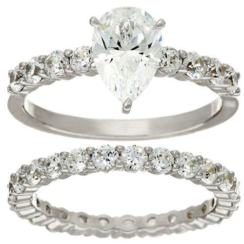 Diamonique Platinum Plated Sterling Silver Pear 100 Facet Ring Set Size 6 Qvc Ebay Link Faceted Ring 14k Engagement Ring Rings