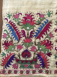 19th C ANTIQUE OTTOMAN-TURKISH GOLD & SILK HAND EMBROIDERY ON LINEN
