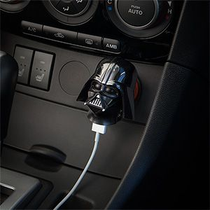 Plug this Star Wars Darth Vader USB Car Charger into your 12V vehicle power adapter (cigarette lighter) to tap into the power of the Dark Side. Specifically, you'll get 2.1 Amps flowing into your phone, tablet, or anything that charges via USB.