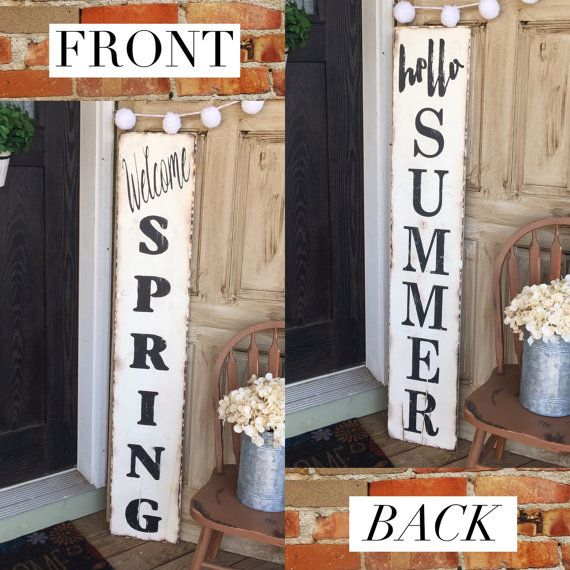 Is this darling or what?! These can be made single or double sided as seen in the picture. These are the perfect addition to your entryway for the Spring and Summer seasons! These are made from pine and really roughed up and distressed to give it that popular reclaimed look. Options shown are:  - white distressed board with Welcome Spring painted in black distressed lettering with the reverse Hello Summer painted in black. We are able to accommodate for custom color requests, and love to so…