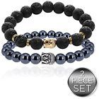 - Buddha Root Chakra Bracelet Set Gold Plated Volcanic Lava And Hematite Healing